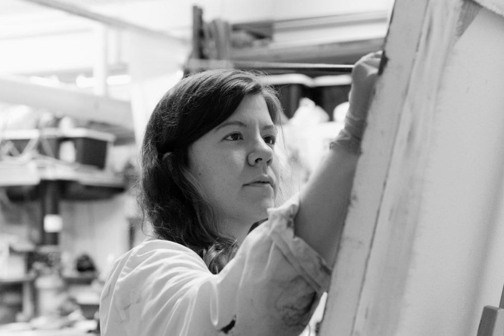 Hélène Salamanca-Gagnon à l'atelier